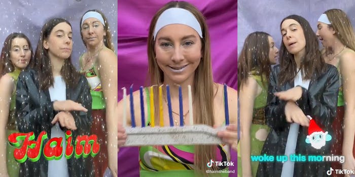 """women singing haim song """"christmas wrapping 2020"""" and a woman holding up a menorah"""