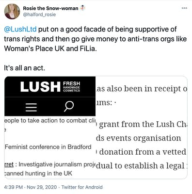 """""""@LushLtd  put on a good facade of being supportive of trans rights and then go give money to anti-trans orgs like Woman's Place UK and FiLia.  It's all an act."""" screenshots of pages showing Lush has donated to FiLiA and WPUK"""
