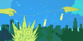 illustration of hand throwing a paper airplane over a city that is dropping bombs