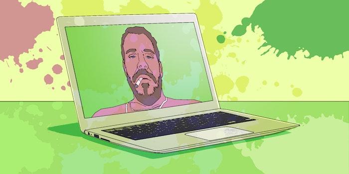 Illustration of Hunter Biden photo on laptop