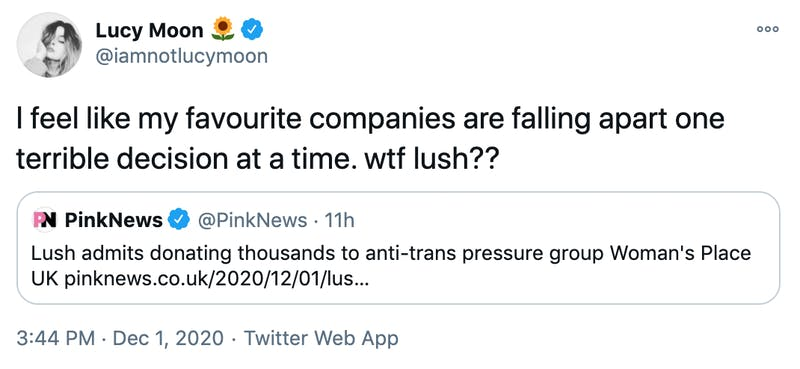 I feel like my favourite companies are falling apart one terrible decision at a time. wtf lush??