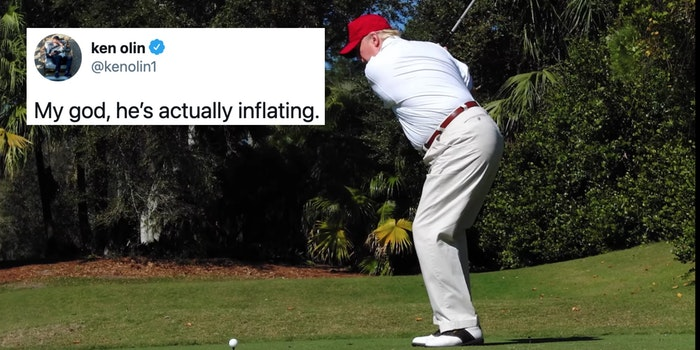 A tweet next to President Donald Trump golfing