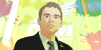 illustration of jack posobiec over oann logo background