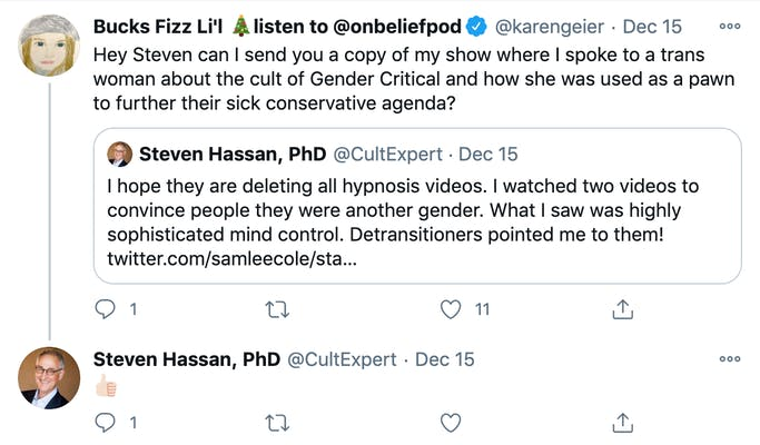 @karengeier: Hey Steven can I send you a copy of my show where I spoke to a trans woman about the cult of Gender Critical and how she was used as a pawn to further their sick conservative agenda? Quote Tweet @CultExpert: thumbs up emoji