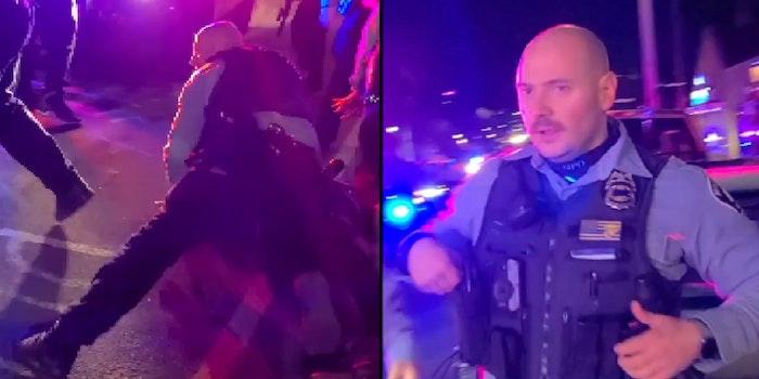 police officer kyle mader kneels on a Black man's back in George Floyd Square