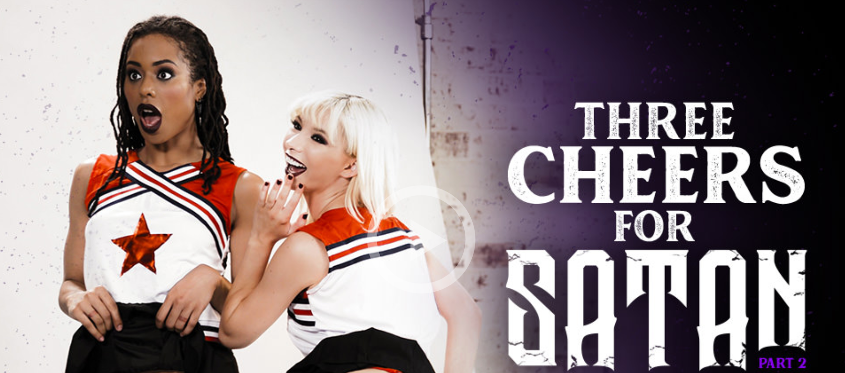 """Movie poster for Burning Angel's original film """"Three Cheers for Satan"""" featuring Kenzie, Kira, and Kyle"""