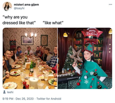 """""""why are you dressed like that? like what?"""" a photograph of a white family around a Christmas dinner table all looking at the camera with surprised expressions and  a photograph of a woman in a Christmas tree costume, holding a tinsel star next to a keyboard and beneath a red star shaped balloon that had """"merry Christmas"""" written on it"""