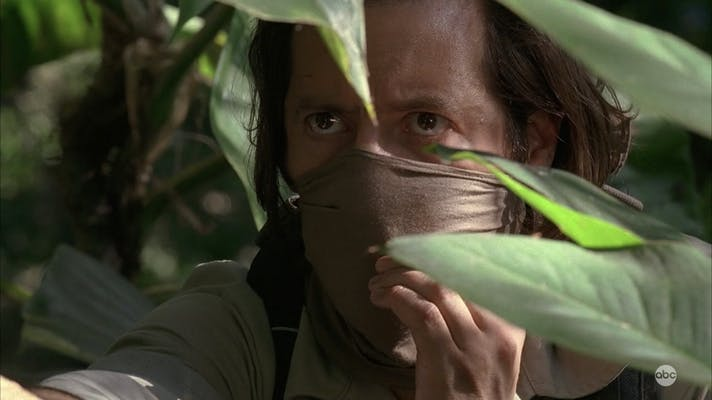 lost desmond hume wearing a mask