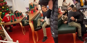 mall santa tells boy he can't have a nerf gun, boy begins to cry, boy is comforted by mother