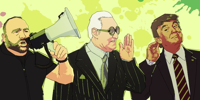illustration of alex jones with a megaphone, rogerstone whispering into trump's ear