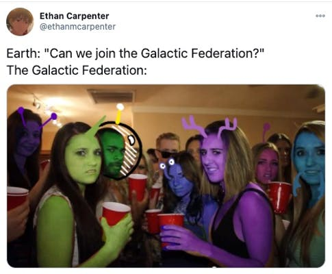 Galactic Federation meme showing aliens being hesitant at letting humans in.