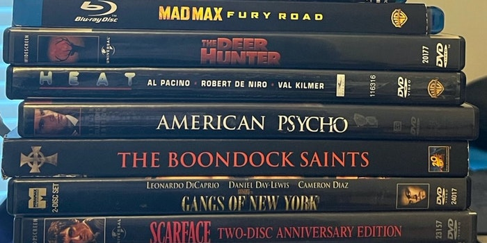 stack of movie dvds and blu-rays