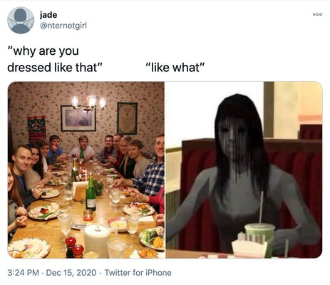 """why are you dressed like that? like what?"""" a photograph of a white family around a Christmas dinner table all looking at the camera with surprised expressions and a primitive Sims style cgi image of a grey skinned woman with stringy black hair over her face"""