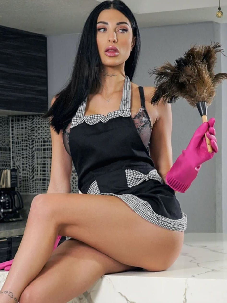 Azul Hermosa sits on a kitchen counter in a maid's costume holding a feather duster.