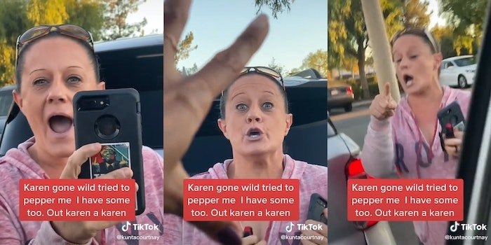 "woman yelling in parking lot with ""Karen gone wild tried to pepper me. I have some too. Out karen a karen"" overlay"