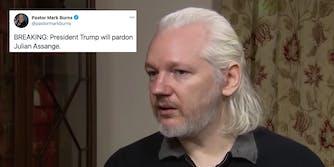 Julian Assange next to a tweet