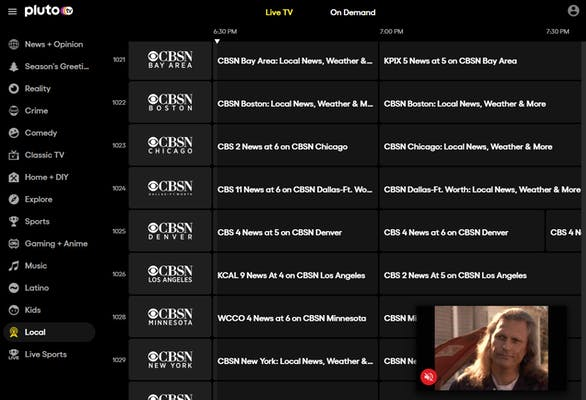 Photo of Pluto TV's selection of local channels.