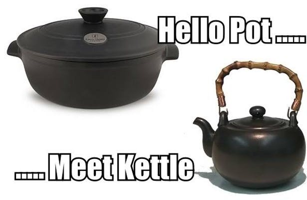 """an image of a cast iron pot and cast iron kettle with the caption """"Hello pot... meet kettle"""""""