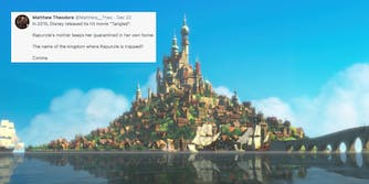 A tweet over the kingdom of Corona from Tangled