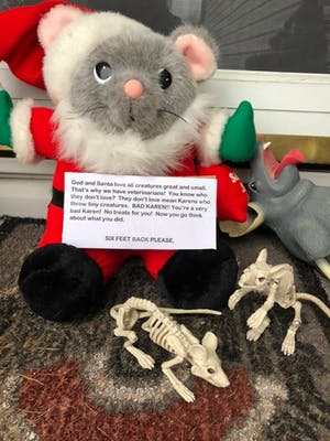 A very cute rat plushie dressed as Santa, surrounded by rat skeletons and holding the sign described above