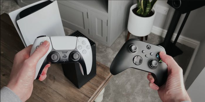 An XBox Series X and a PlayStation 5