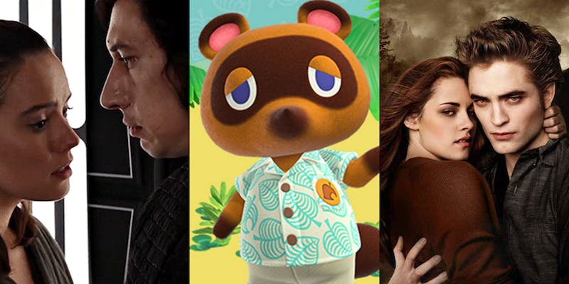rey and kylo ren, tom nook from animal crossing, and edward and bella from twilight
