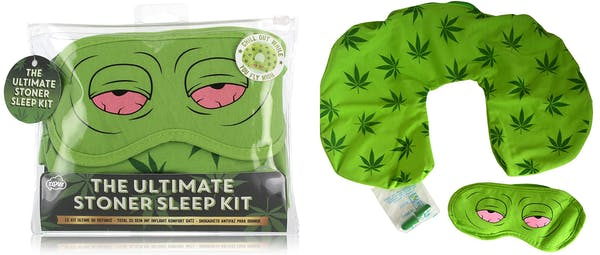 Image of what the Ultimate Stoner Sleep Kit gift set looks like. Includes a weed leaf patterned neck pillow, a red-eye mask and green earplugs.
