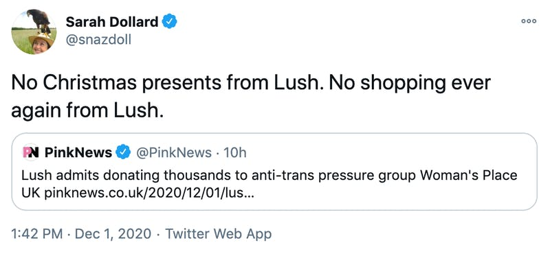 No Christmas presents from Lush. No shopping ever again from Lush.