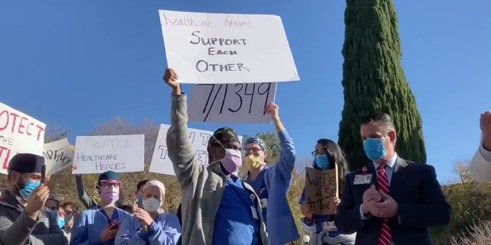 stanford hospital protest vaccine video