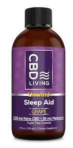 A four once bottle of CBD Living's Grape Unwind Nighttime Sleep Aid Syrup