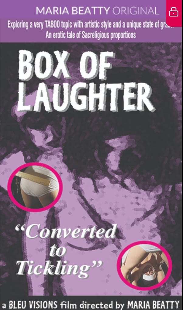 """Movie poster for Maria Beatty's Box of Laughter. It features one woman standing behind another with her head down. The entire poster is purple and grey hues, it reads """"Converted to tickling."""""""