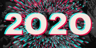 """2020"" in TikTok logo style over abstract background mixed with Trump protest"