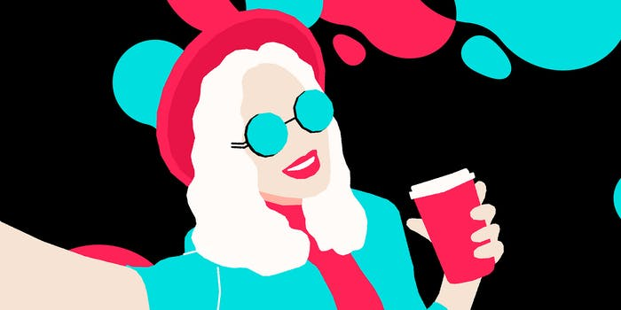 illustration of woman holding coffee taking a selfie