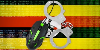 mouse cable handcuffed over ugandan flag with code in background