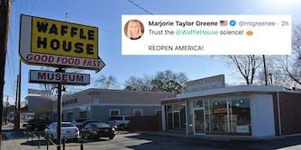 A Waffle House next to a tweet