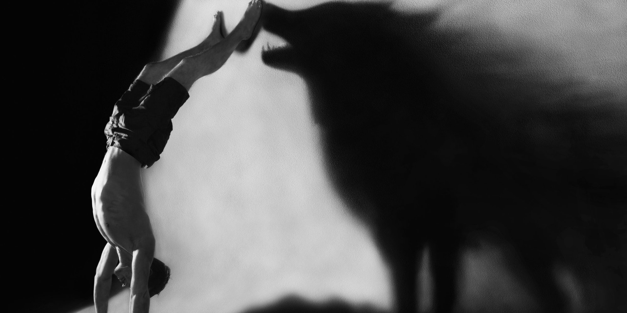 An image of a man doing a handstand with a wolf's shadow on a wall. Wolf dynamics play a key role in the omegaverse and its A/B/O dynamics.