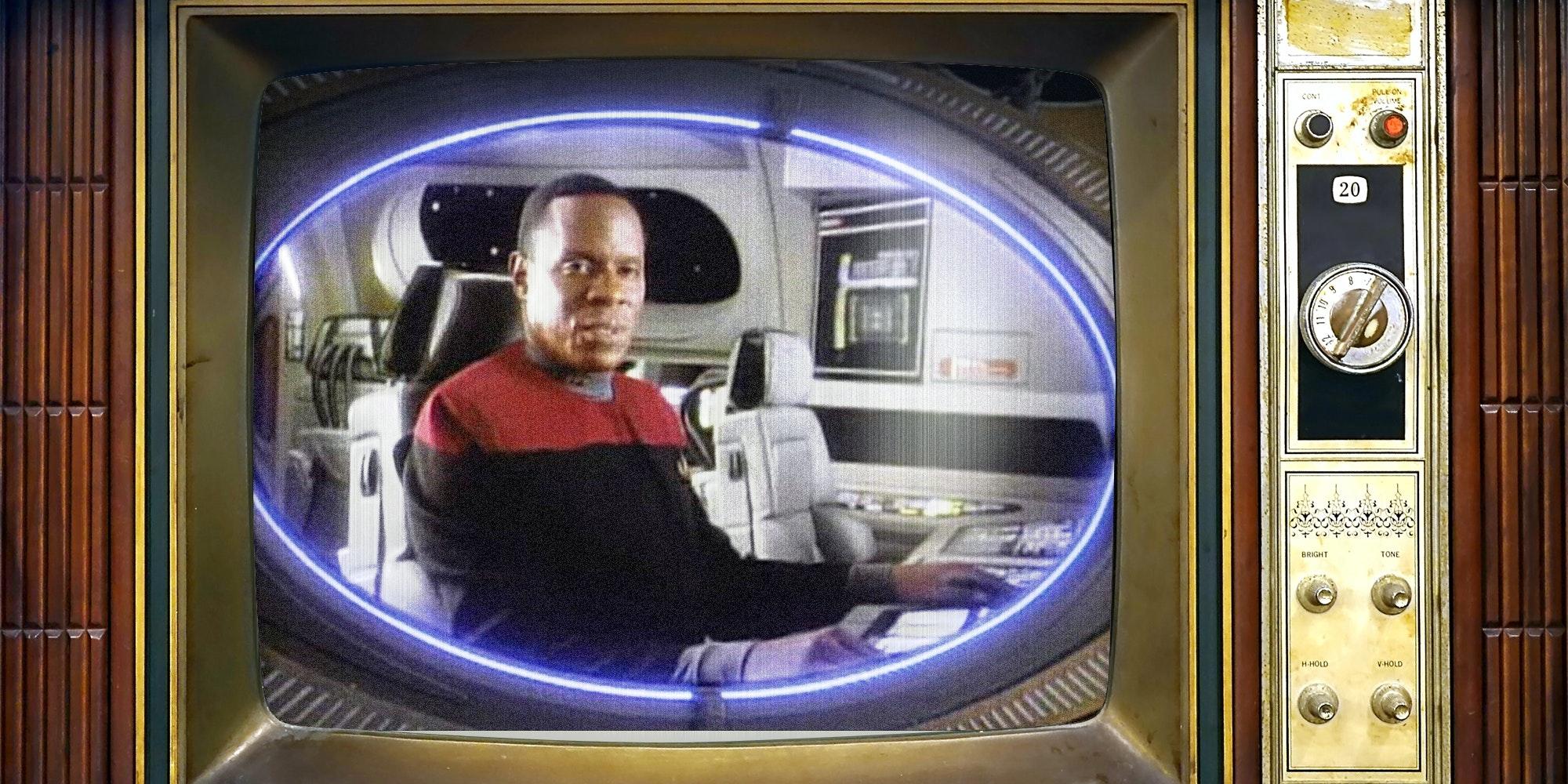 Star Trek: Deep Space 9 on old analog television set