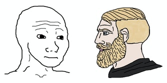 "wojak and ""yes chad"" memes, bald line drawn face with bearded, blonde-haired line drawn man"