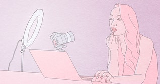 illustration of woman using ring light, camera and laptop to apply lipstick