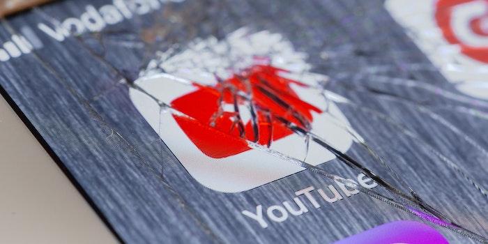 youtube logo under broken screen