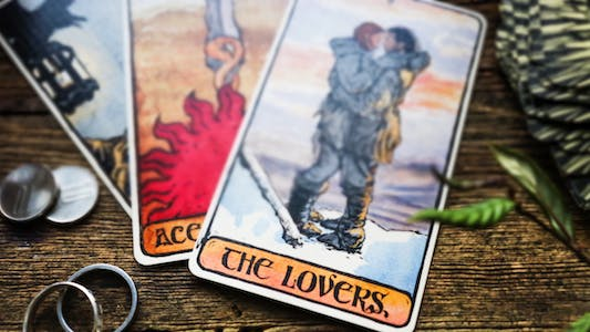 """psychic love tarot cards showing """"The Lovers"""""""
