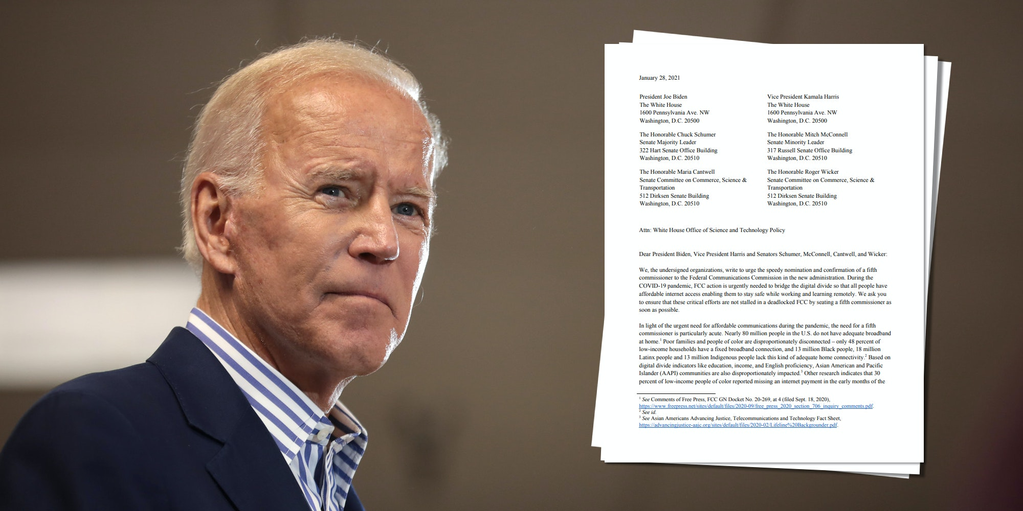 Joe Biden next to a letter urging him and Congress to quickly confirm the fifth member of the FCC.