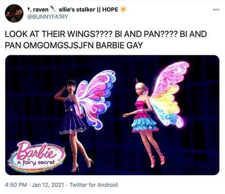 """""""LOOK AT THEIR WINGS???? BI AND PAN???? BI AND PAN OMGOMGSJSJFN BARBIE GAY"""" promotional image from Barbie, a fairy secret. The cgi doll on the left has dark hair, a knee length dress with a puffy skirt and blue, pink and purple wings. The doll on the right has a blonde ponytail, a pink and blue frilly dress and pink, yellow and blue wings."""