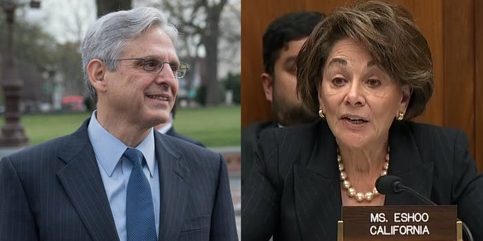 Merrick Garland and Rep. Anna Eshoo from California. Eshoo led other California lawmakers asking Garland to withdraw from the DOJ's lawsuit against the state's net neutrality law.