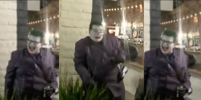 video shows joker cosplayer hit in face with bread