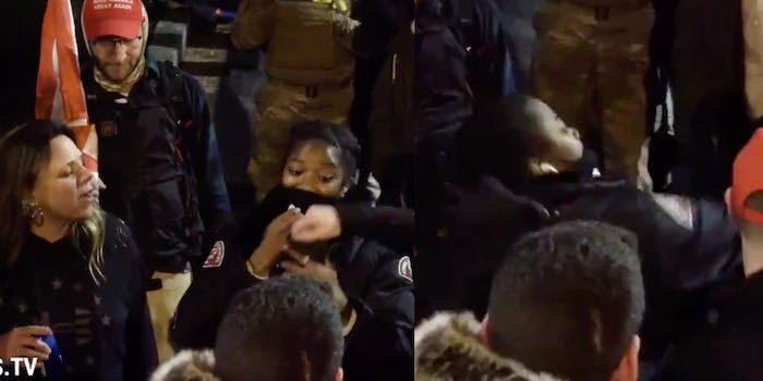 Screengrabs show a woman reaching for Ashanti Smith, and Smith turning around and punching her
