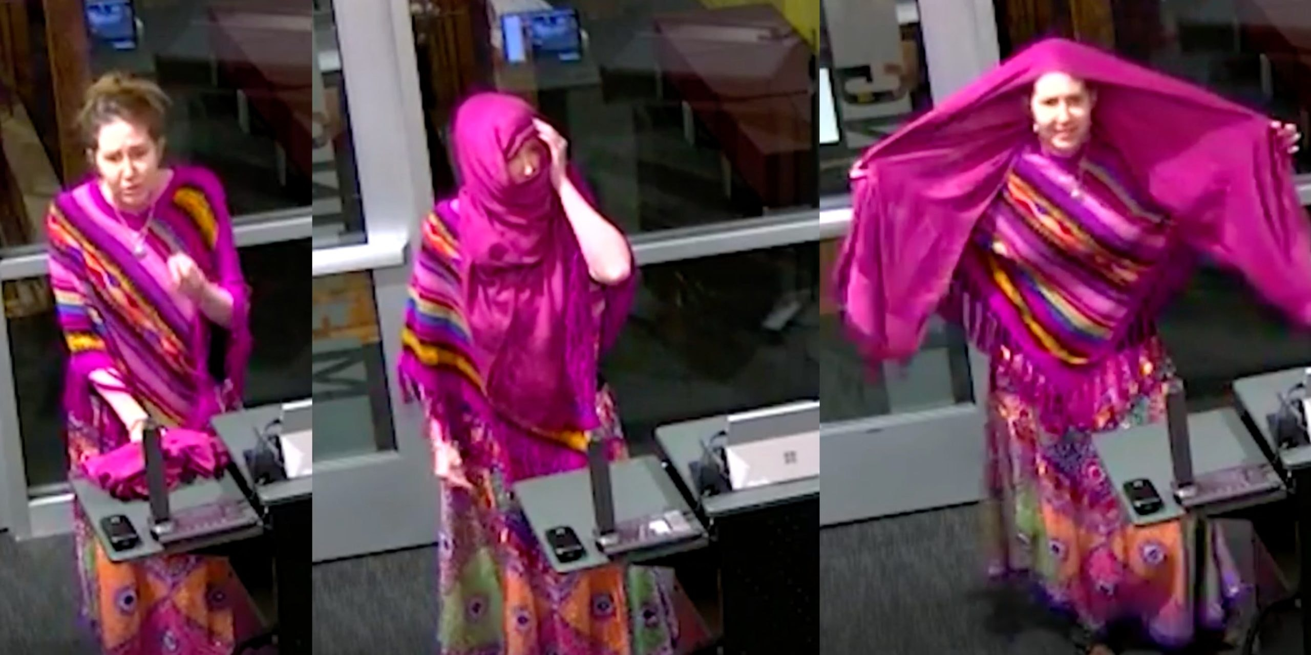 Katie Dugger tried to demonstrate how wearing a mask makes her feel like she's wearing a 'burqa'