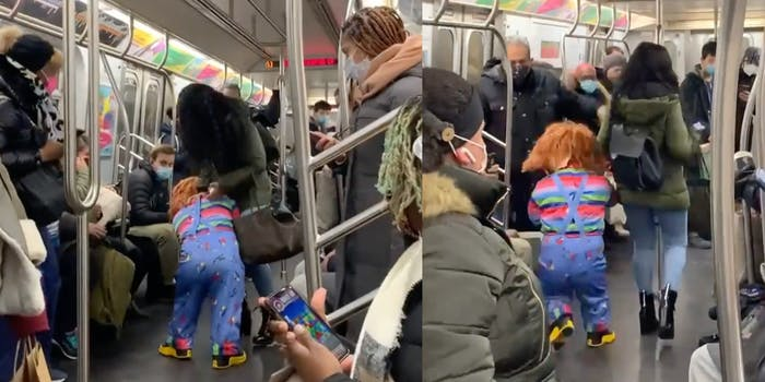 Video shows 'Chucky' attacking a mask-less woman on NYC subway