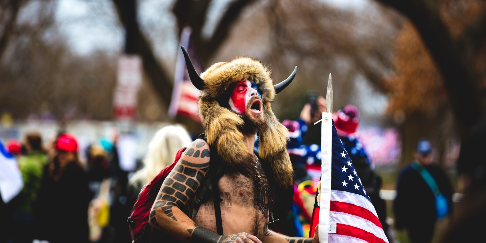 Jake Angeli, aka 'Q Shaman', at the Capitol riot on Wednesday