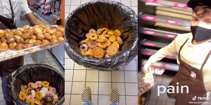 Dunkin' Donut's employee shows food waste